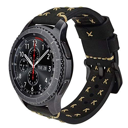 Gear S3 Watch Band, iBazal Gear S3 Frontier/ Classic Leather Band 22mm Watch Band Replacement Band with Black Clasp for Samsung Gear S3 Frontier/ Classic SM-R760 - Vintage Black …