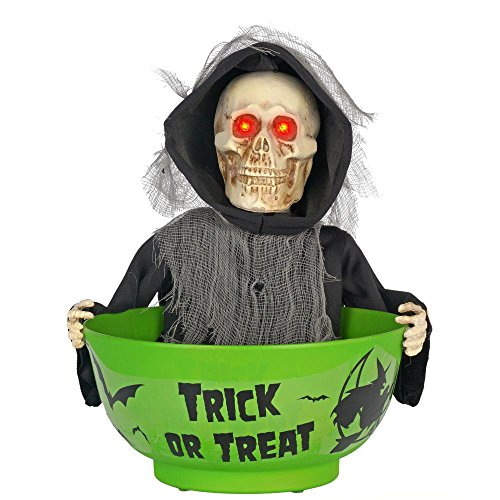 Home Depot Animated Skeleton Candy Bowl - Batteries Included - Moves and Says 7 Different Sayings! -]()