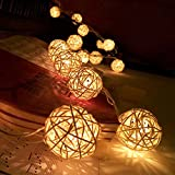 Nevera String Lights 20 LED Outdoor Rattan Ball Christmas Decoration Light Patio Lights Decorative for Xmas Tree Garden Home Lawn Wedding Party Holiday