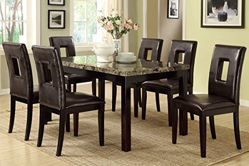 7pcs Casual Faux Marble Table Top With Dark Brown Leather Chairs Dining Set
