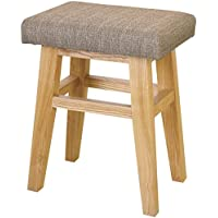 AZUMAYA Home Wooden Low Stool Textile Fabric Seat Beige Chair CL-785CBE