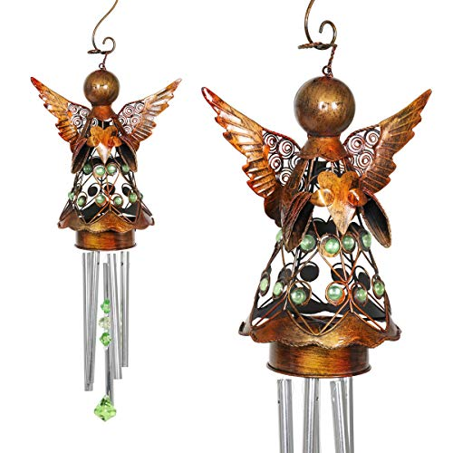 Exhart Bronze Angel Wind Chimes - Metal Wind Chimes Patio Decor - Features Bronze Angel Wings, Blue Acrylic Beads on Body, Blue Crystals Windcatcher - Angelic Home Decor, 5.5