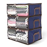 Titan Mall Clothing Organizer Bags Bamboo Charcoal Fiber Storage Units for Clothes 19''x14''x8'' Royal Blue, Pack of 3