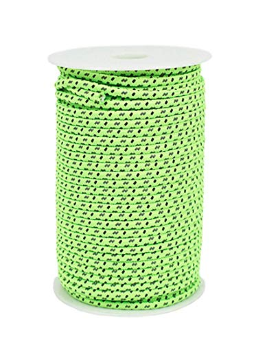 DPLUS Highly Visible Guyline Camping Rope 50m Fluorescent Reflective Guyline Tent Rope Nylon Cord Paracord for Outdoor Camping Hiking Tent (4mm)