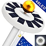 Cheap Solar Flag Pole Light, Flagpole Solar Light 800Lux- Hallomall 48LED Downlight Lighting for 15 to 25 Ft Flag Pole Topper, 3 Modes, Auto On/Off Night Light {Upgraded Version }