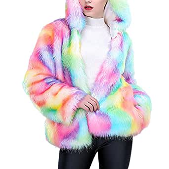 Froomer Women Faux Fur Coat Rainbow Color Plus Size Winter Thick Outerwear Hooded Jacket