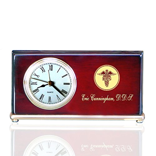 (Personalized Piano Finished Wood Wedge Alarm Clocks for Dentists)