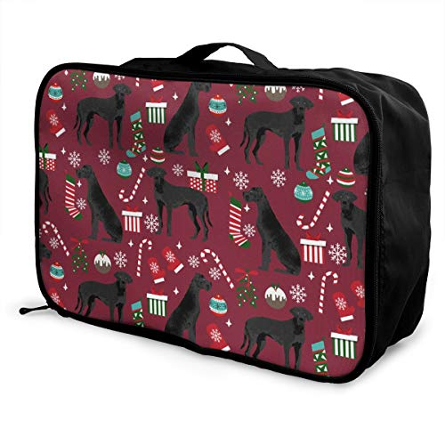 Portable Duffel Bag For Travel, Great Dane Black Christmas Stockings Candy Canes Dog Duffle Bags