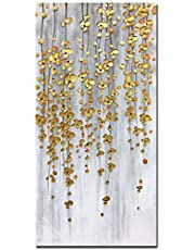 Yotree Paintings, 24x48 Inch Paintings Oil Hand Painting Silver-Gold Flowers Painting 3D Hand-Painted On Canvas Abstract Artwork Art Wood Inside Framed Hanging Wall Decoration Abstract Painting