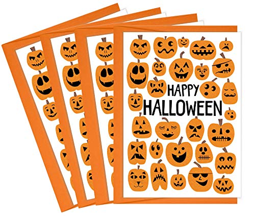 Tiny Expressions Happy Halloween Pumpkin Greeting Card Multipack (4 Cards) -