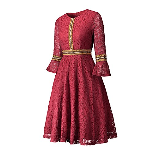 DDSOL Dress Red Black Sleeve Women Flare Big A Sundress Lace Line Midi 1red Swing Casual Color Vintage rZwxCrX6q