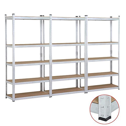 Yaheetech 3 Bay Heavy Duty 5 Level Silver Storage Rack Adjustable Garage Shelving Unit - 3 Bay Shelving