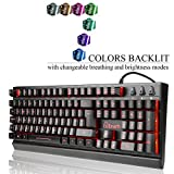 Emarth Mechanical Feel Wired Gaming Keyboard for PC with Ergonomic Cool LED Backlit Design - Black