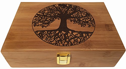 Tree Treasure Box - Blake & Lake Tree of Life Wood Stash Box - Wooden Stash Boxes Engraved Tree Design - Latch Box and Locking Hinge Decorative Wooden Boxes with Lid (Tree of Life)