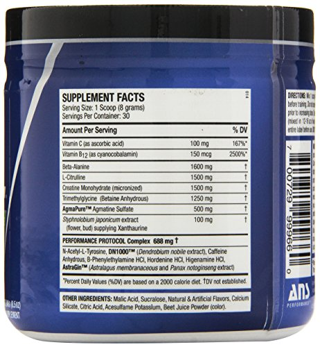 ANS Performance Ritual Pre-Workout, Delivers Extreme Energy with Intense Focus and Raw Power, Sugar-Free Wicked Watermelon, 240 Gram