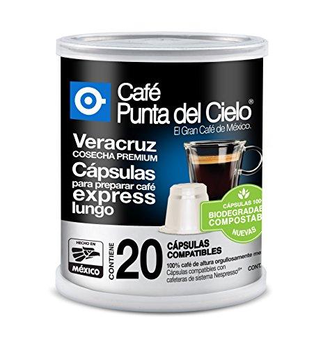 Café Punta del Cielo Capsulas Express Region Veracruz Cosecha Premium Lata, 86.3 gr, Paquete de 20 Piezas