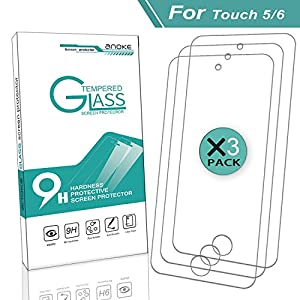 iPod Touch 5 / Touch 6 Screen Protector,[3 Pack] AnoKe[Tempered Glass][Case Friendly][0.3mm 9H] Clear Anti-scratch Screen Protector Film for Apple iPod 5th / 6th generation -3Pack