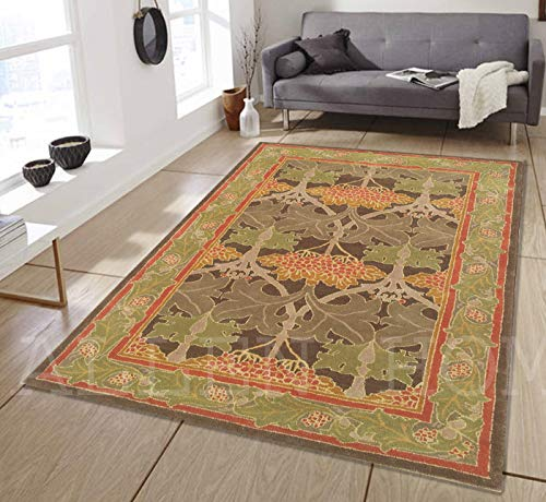 Allen Home Wool Rug 2.5'X9' Mariya Green Tufted William Morris Art and Crafts Persian Traditional Wool Rug Carpet (8'X10')