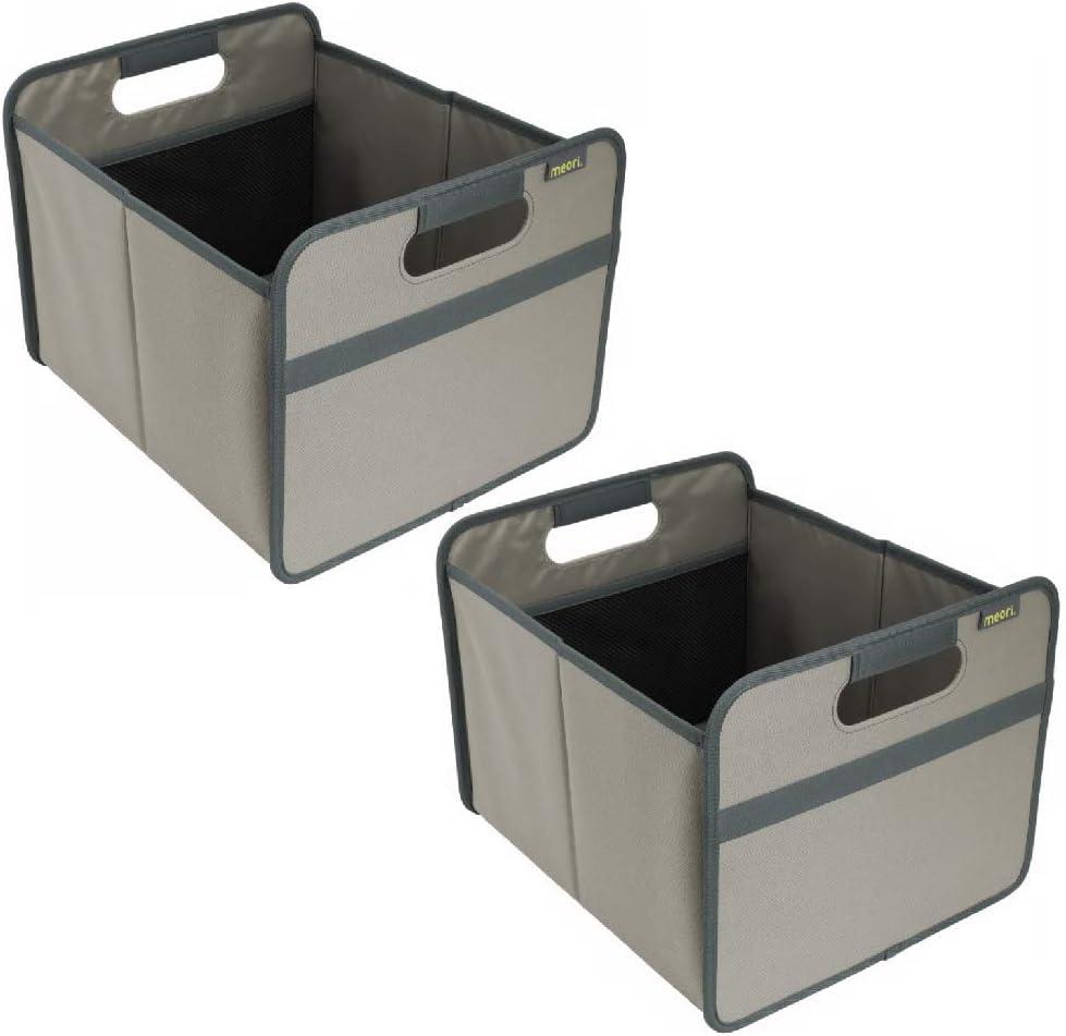 Medium Foldable Box meori Stone Grey Storage Container Organizer Collapsible Shopping Basket 2-Pack 2 Pack