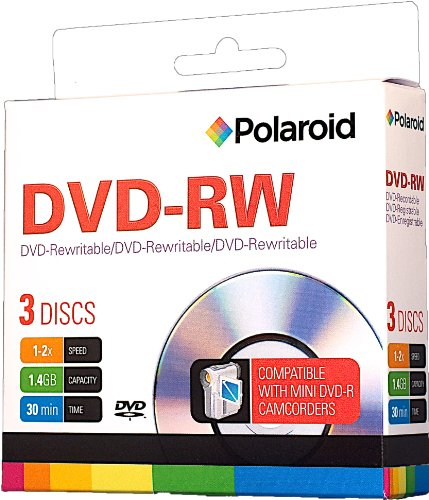 UPC 855681002214, Polaroid PRMDVDRW003 DVD-RW 1.4GB 30-Minute 2x Rewritable 8 cm Mini DVD Disc, 3-Pack Slim Case