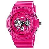 Fanmis Sport Watch Analog/Digital Water Resist Dual Time Alarm Led Girl's Wristwatch Dark Pink