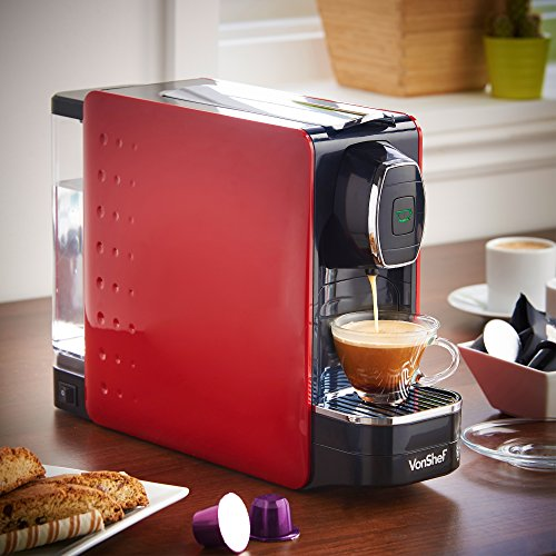 vonshef coffee pod machine for nespresso compatible capsules 1250w in stylish red. Black Bedroom Furniture Sets. Home Design Ideas