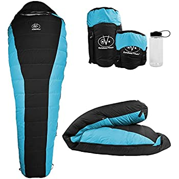 Outdoor Vitals Atlas 15°F Lightweight Down Sleeping Bag with Compression Sack & (Blue, Regular)