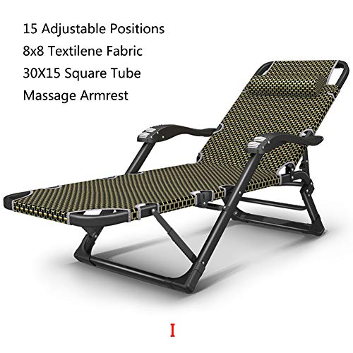 (XIAOMEI Folding Zero Gravity Lounge Chair Recliners Foot Rest Textilene Adjustable Armrest Square Legs Heavy Duty for Office Black-i)