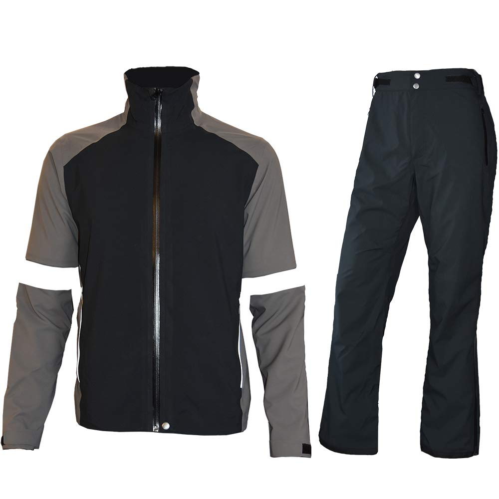 fit space Men's Waterproof Golf Jacket and Pants for All Sports Rain Suit (Gray Full-Zip, Small)