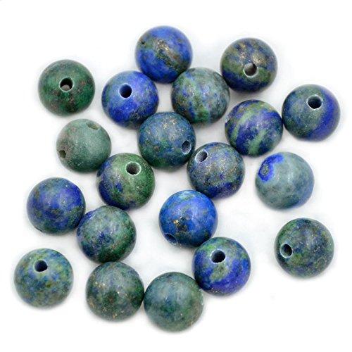 AD Beads Natural Gemstone 10mm Round Loose Beads Big Hole 2mm Sized 30pcs (Lapis Lazuli Chrysocolla)