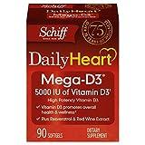 Schiff DailyHeart Mega-D3, 90 softgels - 5000 IU of Vitamin D3