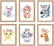 Baby Girl Nursery Decor, Nursery Wall Art, Baby Room Decorations for Girls, Nursery Wall Decor Girl, Safari Nu