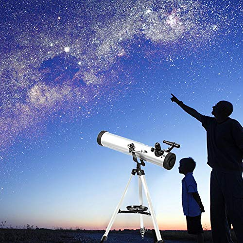 Leiyini Student Portable Telescope Outdoor 1.5 Times Magnification Mirror Telescope Astronomy 2 Times Barlow Large Diameter with Tripod Silver Single Cylinder Telescope by Leiyini (Image #5)