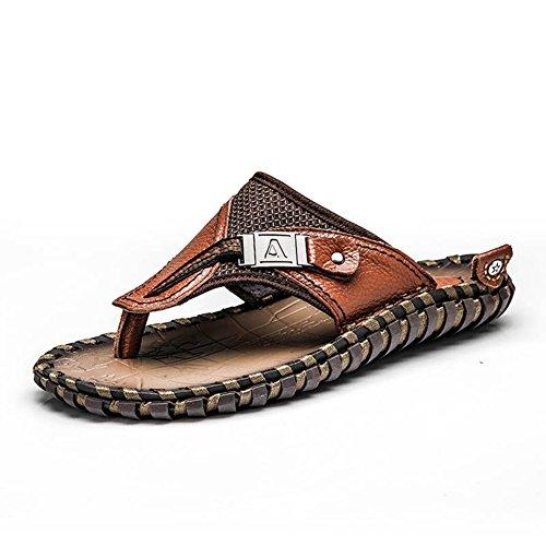 Mobnau Heren Lederen String Sandalen Anti-slip Flip Flops Bruin