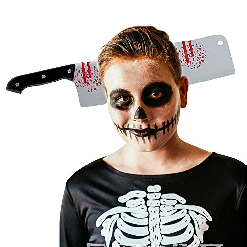 Diy Child Zombie Costume (Cleaver Through Head, Owlbbabies 1pc Halloween Bleeding Headband Bloody Hair Accessories Spoof Tricky Horrible Prop Dress-up Cosplay Party Head Costume)