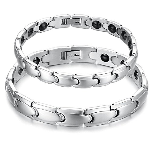 teel Couple Magnetic Bracelet Matching Set Anti-fatigue, Pain-relief, Therapy Power (Titanium Wedding Bracelet)