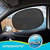 "Capparis Premium Car Window Shade (3 Pack), Extra Large 20""x12"" Cling Sunshade For Car Side Windows, 80 GSM for Max Sun, Glare, Heat & UV Ray Protection for Child & Baby LIFE-TIME WARRANTY"