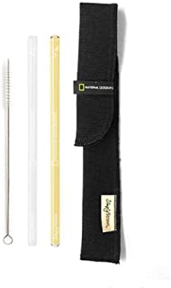 product image for SIMPLY STRAWS Clear Yellow Glass Straw Brush Case Set, 1 EA