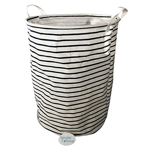 Canvas Storage Bin with Dark Blue Stripes - - Animal Hamper Wicker