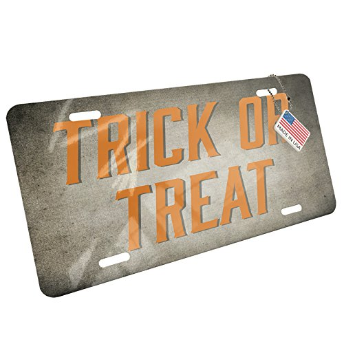 NEONBLOND Trick or Treat Halloween Spooky Design Aluminum License Plate -