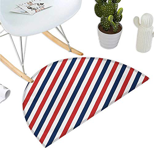Harbour Stripe Semicircle Doormat Vintage Barber Pole Helix of Colored Stripes Medieval Contrast Design Entry Door Mat H 35.4