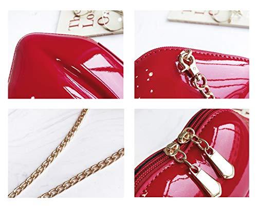 Handbag Red Women's Clutch Onfashion Party Crossbody Purse Pink Evening Acrylic Shoulder Lip Sexy 8qYdxtdZ
