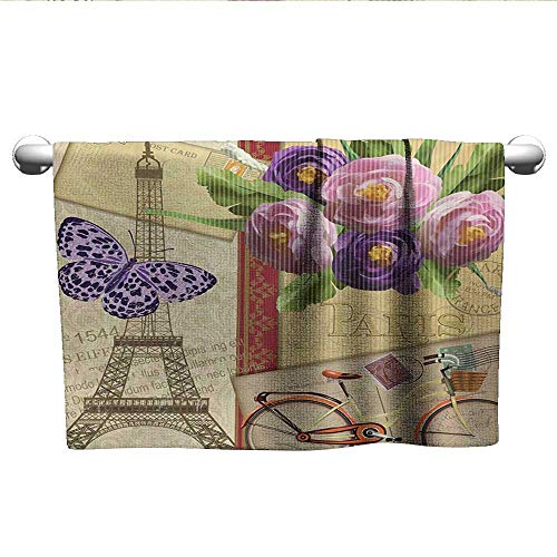 Paris,Hand Towels Famous French Landmark Eiffel Tower Postcards with Abstract Striped Backdrop Print Sports Ttowel Multicolor W 14