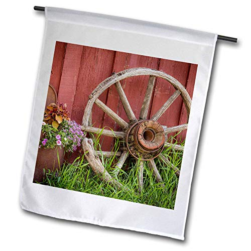 (3dRose Danita Delimont - Farms - Vintage Wagon Wheel and Flowers Against a red barn. - 18 x 27 inch Garden Flag (fl_313015_2))