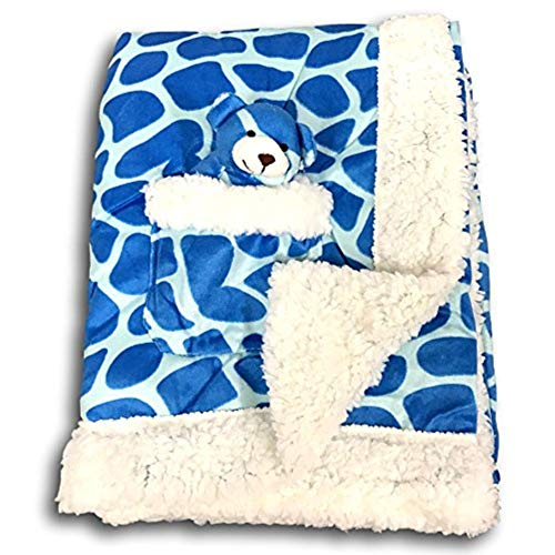 - Metta Baby and Children Baby Boy Blanket Animal Giraffe Print Velour Very Soft Sherpa Faux Sheep Fur Boys Crib Blankets Blankie Newborn Toddler Plush Toy in Pocket Blue Ivory 30 by 40 Inches