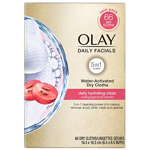 Olay Daily Facials, Clean Makeup Removing Face Cleansing Wipes, 5-in-1 Water Activated Cloths, Exfoliates, Tones and Hydrates Skin, 66 count