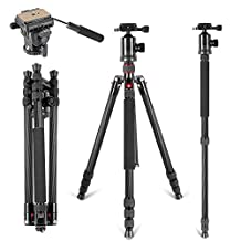 """Neewer Carbon Fiber 66 inches Tripod Monopod with 360 Degree Ball Head,Fluid Video Head,1/4"""" Quick Release Plate,and Bubble Level including Bag for DSLR Camera,Video Camcorder up to 26.5 pounds"""