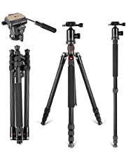 Neewer Carbon Fiber 168 centimeters Tripod Monopod with 360 Degree Ball Head,Fluid Video Head,1/4 inch Quick Shoe Plate,Bag for DSLR Camera,Video Camcorder Load up to 12 kilograms