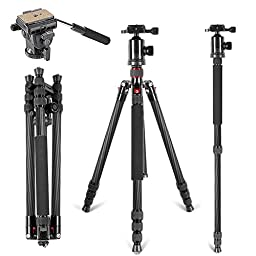 Neewer Carbon Fiber 66 inches Tripod Monopod with 360 Degree Ball Head,Fluid Video Head,1/4\