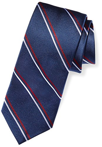 Buttoned Down Men's Classic Silk 3'' Necktie, Navy/Red Thin Stripe (Contrast Tail: Dots), Regular by Buttoned Down